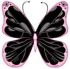 Black and Pink Transparent Butterfly Clipart