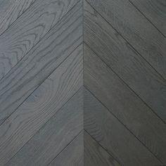 Grey colour shade engineered oak chevron parquet wood flooring in Scotland. Black Floorboards, Black Wood Floors, Parquet Flooring, Hardwood Floors, Wood Panneling, Parquet Texture, Wood Floor Installation, Glasgow, Edinburgh
