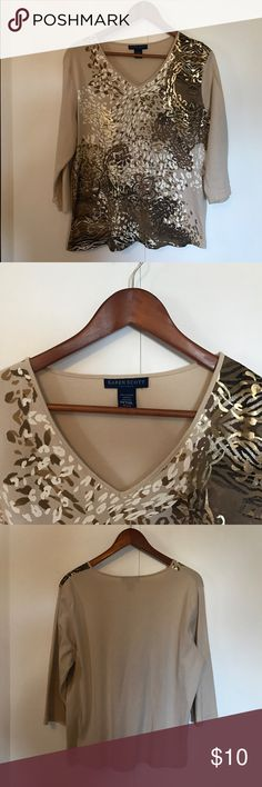 Karen Scott 3/4 sleeve top in abstract print Fun casual top in tan, brown and gold. Pairs well with khakis or jeans and a gold tone necklace. Karen Scott Tops Tees - Long Sleeve