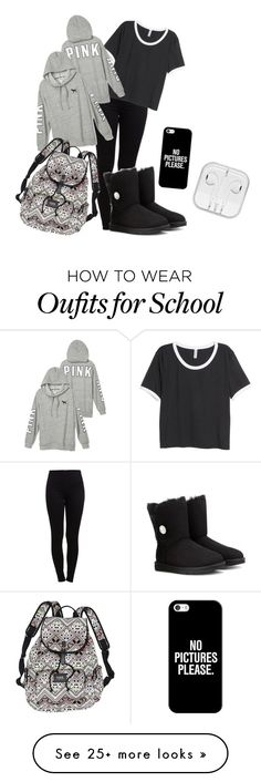 """""""Lazy school day"""" by nicoleee66 on Polyvore featuring Pieces, H&M, UGG Australia, Victoria's Secret and Casetify"""
