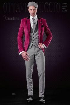 Groom Suit in Fuchsia velvet with Waistcoat #wedding #tuxedo #groom