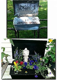 old bbq grill transformed into a planter