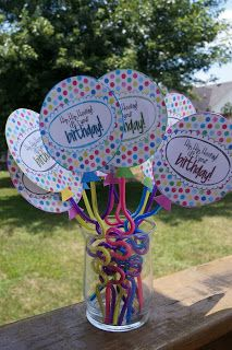 "Free printables - just add a silly straw to make a birthday ""balloon!"""