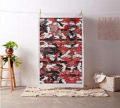 Black, white and red tapestry fabric by khoncepts.com  #homedecor #sewing