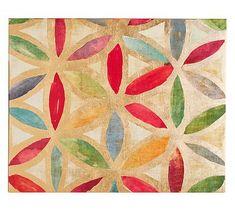Gold Leaf Trellis Canvas 1 #potterybarn