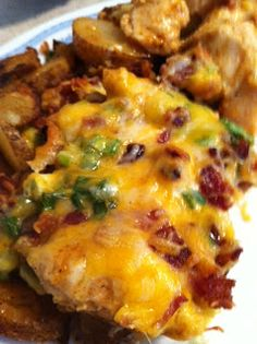 Testing Trendy....1, 2, 3: Loaded Potato & Buffalo Chicken Casserole