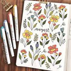 If you enjoy creating monthly spreads for your bullet journal, I'm sharing 24 monthly bullet journal ideas that you'll want to steal.  August bullet journal spread. Floral bullet journal spread. #bujo #bulletjournal #bujoideas