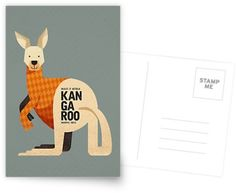 Kangaroo // Greeting Card, Postcard // This is part of a Wildlife of Australia series which also includes Koala, Wombat, Emu and Platypus // Stationery, Greetings, Animal Nursery,  Australian Art Print, Nature Greeting Card, Australian Bird, Australian Animal, Australian Wildlife, Australian Animals Nursery, Animal Retro, Mid-century Animal, Animal Illustration, Australian Art, Australia