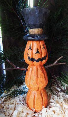 Hand Carved Jack-o-Lantern Man With Top Hat Halloween Wood Crafts, Halloween Clay, Halloween Ornaments, Halloween Season, Halloween Pumpkins, Halloween Decorations, Fall Decorations, Halloween Stuff, Halloween Ideas