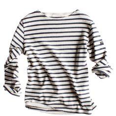 Sailor Shirt (8.915 RUB) ❤ liked on Polyvore featuring tops, t-shirts, shirts, long sleeves, women, long sleeve t shirts, stripe t shirt, long sleeve tee, long sleeve shirts and white shirt