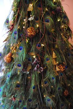Hand made Peacock Christmas tree. Took 20 hr to start to finish. There is 400 peacock feathers.