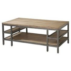 "Planked-style coffee table with two tiers and two side shelves.  Product: Coffee tableConstruction Material: Metal and woodColor: BrownDimensions: 18"" H x 48"" W x 26"" D"