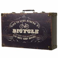 Wooden Case Decoupage Suitcase, Wooden Chest, Fathers Day, Bicycle, Tote Bag, Gifts, Suitcases, Bike, Presents