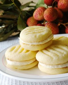 These delicate cookies stay true to their name and have a lovely fresh lychee filling!