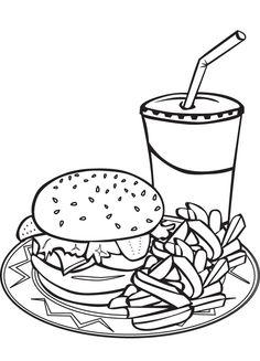 Best Hamburger Junk Food Burger Coloring Pages For Kids