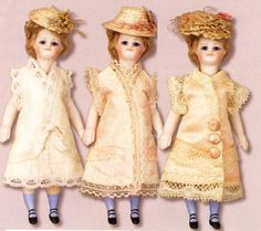 Dress Pattern for 5 All Bisque Doll  Antique by VtgDollCloset