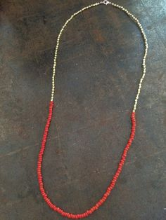 long necklace, coral colored seed beads, gold colored beads - yes please!