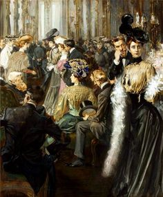 In a Foyer, by Jan Dědina (Czech, 1870 - 1955)