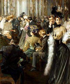 In a Foyer, by Jan Dědina (Czech, 1870 - 1955)