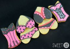 Custom lingerie sugar cookies are made to order and can be customized with any colors. --------------------------Instructions for Ordering-------------------------- Comments: Use the comments box to let me know when you need the cookies by and what colors you would like.  Quantity: Cookies are sold by packages of six. To order more than six cookies, use Quantity pull down menu. Quantity of 2 will equal 12 cookies, quantity of 3 = 18 cookies, etc.  Cookie Flavor: Use Flavor menu to choose…