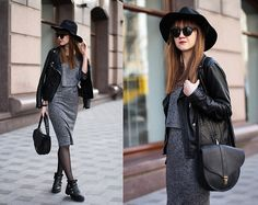 Get this look: http://lb.nu/look/8151375  More looks by Nastia Poberezhna: http://lb.nu/nastiapoberezhna  Items in this look:  Sheinside Grey Midi Dress, Boorbon Leather Bag   #casual #edgy #grunge
