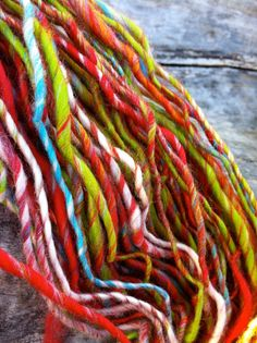 Hand-spun yarn - festive colors