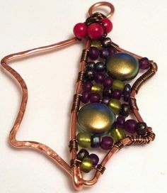 2014 Holiday Ornament Exchange: Holy leaf, copper, wire work, pearls, coral, ooak :: All Pretty Things