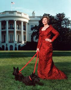 Famous Scottish Terriers: Barney and Miss Beazley with First Lady, Laura Bush at The White House