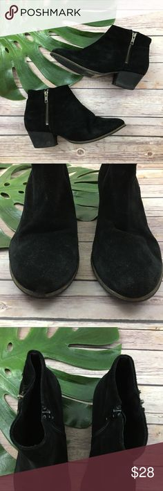 Aldo black suede low heel zip up booties Aldo black suede ankle boots, size 9. They are free from any rips or stains but do have some slight wear to the toes, please see pictures. The heel is about 1.5 inches and the boots are about 4 inches tall. Aldo Shoes Ankle Boots & Booties