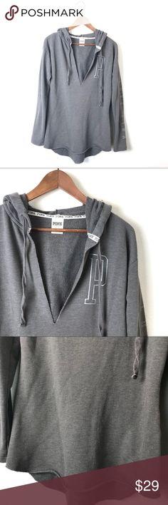 "PINK Gray V-Neck Slit Hoodie Sweatshirt PINK Gray V-Neck Slit Hoodie Sweatshirt. 29"" long. 19"" across the bust. 60% Cotton 40% Polyester. Light weight sweatshirt. Raw edge hem. Light piling otherwise in great condition. Size S. PINK Victoria's Secret Tops Sweatshirts & Hoodies"