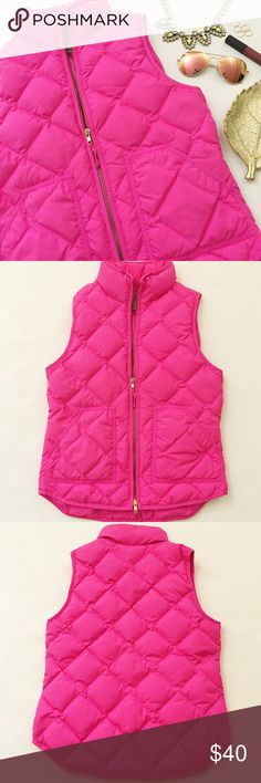 """J. Crew Quilted Excursion Vest J. Crew Quilted Excursion Vest in a bright, bublegum pink featuring zip front and cozy down filling. Add a pop of color to your Fall wardrobe! Pre-loved but in excellent condition. No holes, stains or tears. Last pic blogger babe, used to show fit and true color. Size XS, runs slightly bigger for layering. Could fit S.  Please verify measurements.  •  BUNDLE with jewelry to SAVE and GET THE LOOK!  •  Measurements laying flat: Armpit to armpit: 17.5"""" Waist…"""