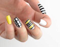 Buff and Polish, Nice yellow, white and black fabric inspired...