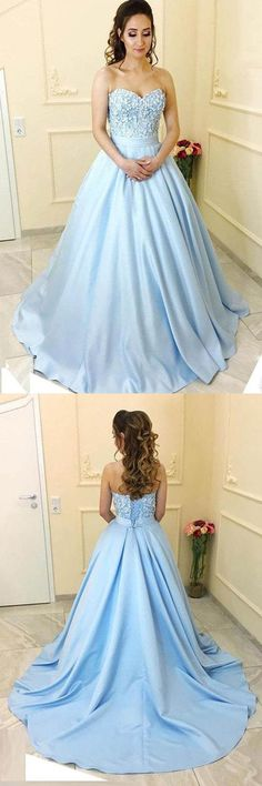 Blue Satin A-line Princess Sweetheart Neck Strapless Long Prom Dresses PG511 #promdress #longpromdress #satin #ballgown #dress #pgmdress #eveningdress #partydress