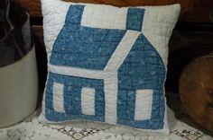 Antique School House Pillow Cadet Blue Patchwork Quilt 10 x 10 #NaivePrimitive #PrimitiveEwe