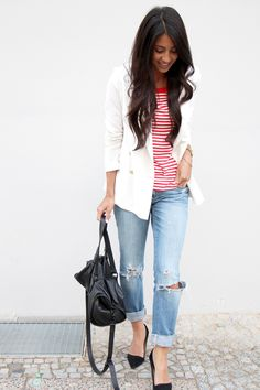 stripes and white blazer