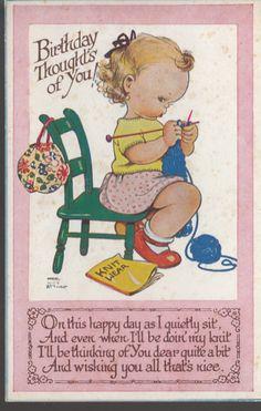 Mabel Lucie Attwell Cute Birthday Vintage Postcard Girl Knitting | eBay
