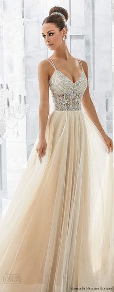 morilee fall 2017 blu bridal double thin strap v neck heavily embellished bodice blush color soft a line wedding dress open strap back chapel train (1) mv -- Morilee by Madeline Gardner Fall 2017 Blu Bridal Collection