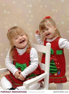 Emmalyn and Cailyn wish you a merry Christmas. ♥ Down syndrome awareness
