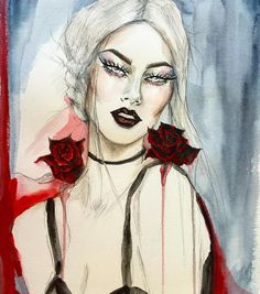 """Gorgeous illustration by @catcouart """"#watercolor #liquitex #acrylic #painting #illustration #glitter #eyes and #lips #goth and #grunge #inspiration #burgundy #roses #fashionillustration #drawing #art #artwork #design #catcouart"""" #montreal"""