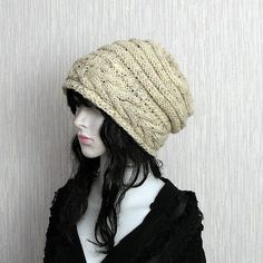 Women Hat Slouchy Hat Slouch Beanie Cable Hand by DamovFashion