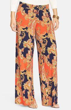 e0c520c6127 Lauren Ralph Lauren Paisley Print Jersey Wide Leg Pants (Plus Size)