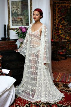 Heirloom Lace Bridal Robe Embroidered French Lace Bridal Wedding Lingerie Angel Sleeve Sarafina Dreams Bridal Collection – My Wedding Dream Belle Lingerie, Bridal Lingerie Lace, Bridal Nightgown, Wedding Night Lingerie, Lace Nightgown, Bridal Robes, Bridal Lace, Angel Bridal, Backless Gown