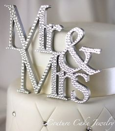 Mr & Mrs Cake Topper by CoutureCakeToppers on Etsy