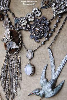 """Honoring Life Through Jewelry"" Recycled Jewelry, Bird Jewelry, Jewelry Crafts, Jewelry Art, Vintage Jewelry, Jewelry Design, Jewlery, Mixed Media Jewelry, Magical Jewelry"