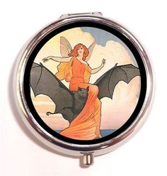 Art-Nouveau-Victorian-Fairy-Woman-Riding-Bat-Goth-Vampire-Pill-Box-Pillbox