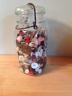Vintage Ball Ideal Jar with Wire Bail  Filled by 2ndChanceShop, $16.00 #buttons #ball #jar #vintage