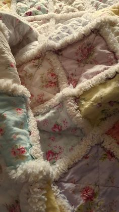 Rag quilt cottage chic floral shabby lap by ForPrimsnPretties
