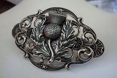 Scottish Celtic Vintage Inspired THISTLE French HAIR CLIP BARRETTE Silver Pl #Handmade #Barrette
