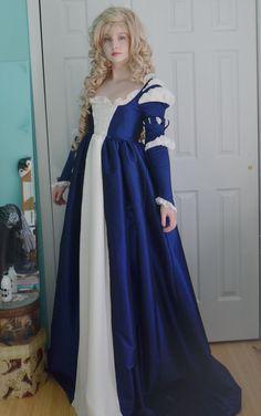 Renaissance Gown  Juliet Costume Borgia Over Dress Royal Blue L//XL