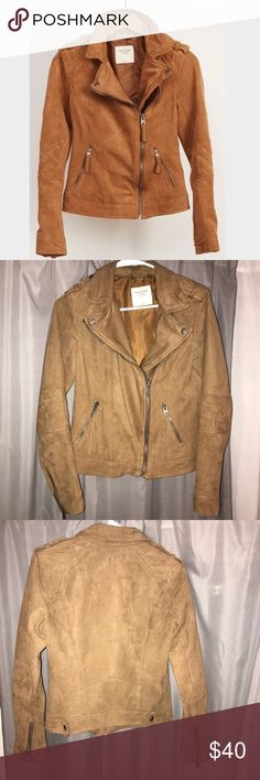 Abercrombie & Fitch Suede Camel Moto Jacket Camel faux suede moto jacket! Perfect condition and only worn a few times. Super cute and comfortable :) The color is more camel like the first picture Abercrombie & Fitch Jackets & Coats